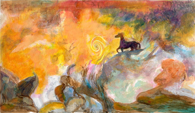Horse Confronting a Vortex